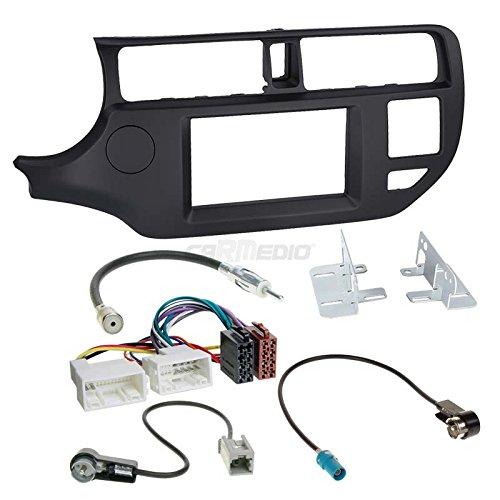 Carmedio Kia Rio UB 11-15 2-DIN Autoradio Einbauset in original Plug&Play Qualität mit Antennenadapter Radioanschlusskabel Zubehör und Radioblende Einbaurahmen schwarz