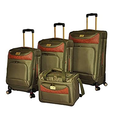 Caribbean Joe Castaway 4-Piece Spinner Luggage Set (Olive)
