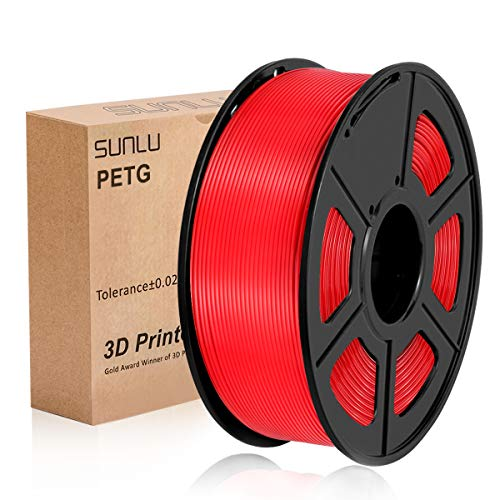 SUNLU 3D Printer Filament PETG, 1.75mm PETG 3D Printer Filament, 3D Printing Filament PETG for 3D Printer, 1kg, Red