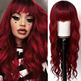 Freyja Hair Long Wavy Wig With Air Bangs Synthetic Heat Resistant Wigs for Women Natural Looking Wine Red Curly Hair Machine Made Wigs (24Inch, Wave Wig)