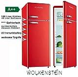 Retro Kühl-Gefrier-Kombination Rot Glanz GK212.4RT A++ 206 Liter Nostalgie Design...