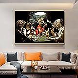zaishuiyifang Lienzo Pintura Carteles E Impresiones Perros Jugando Al Póquer Divertido Arte De Pared Decoración del Hogar Pintura Colgante Sin Marco B1129 50X70Cm