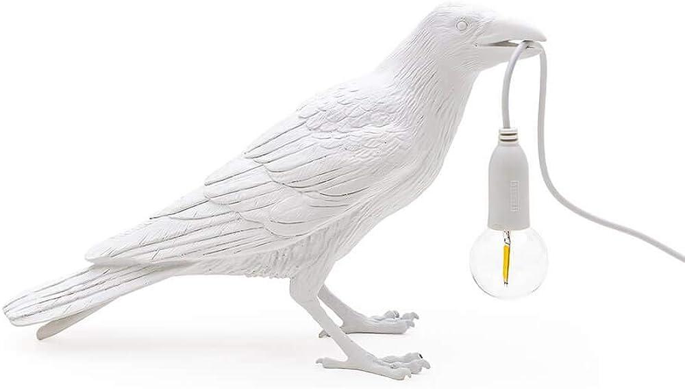 Seletti bird lamp waiting, lampada da tavolo a forma di corvo bianco,in resina 14732