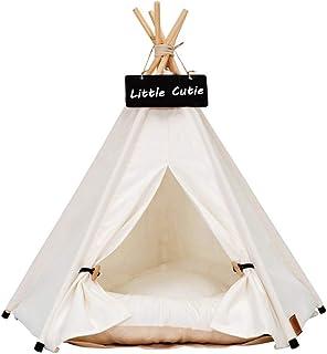 ペット テント 犬小屋 猫小屋 ペットハウス マットレス付き 夏秋用 通気性いい 暑さ対策 洗濯可能 (Pure White(S))