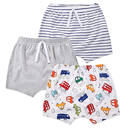 mini eggs Baby Mädchen Jungen Shorts Sommerhose kurz Hose 3er Pack Pull-on Baumwollshorts Baby Kinder Shorts Weich Freizeit Shorts