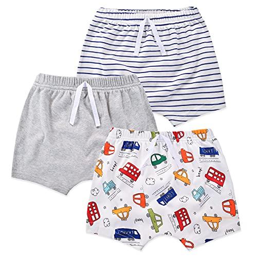 Mini Uova Bambino Shorts Cotone Pull-on Shorts Bambino Neonato Pantaloncini 3 Pack Cartoon & Tinta unita Boyshort per 0-3 anni in estate Auto 18 Mesi