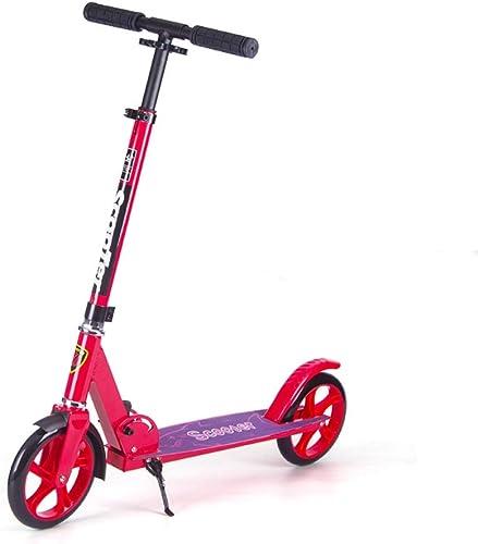 XUEYING-KickScooter Roller-Jugend-faltender Roller ZWeißd Kinder Erwachsene Reise EIN-Fu oller 6-10-18 Jahre alt (Farbe   rot)