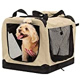 Portable Dog Crates for Small Dogs Travel Dog Crate Puppy Crate Soft Pet Kennel Foldable for Indoor and Outdoor Use (Ivory, S)