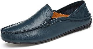 Ranipobo Men's Loafers Casual Low-top Slip On Solid Color Boat Moccasins for Men (Color : Blue, Size : 10 UK)