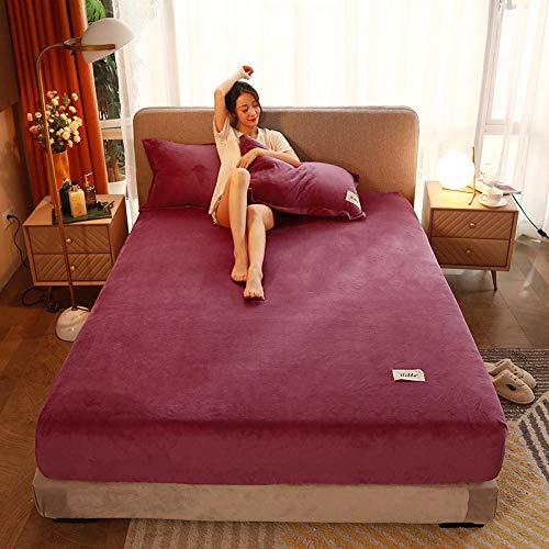 LCFCYY spannbetlakenmatratzenschutz,Warme Dicke Kristall Samt Spannbetttücher,Tagesdecke für Erwachsene und Schlafzimmerdruck für Einzel und Doppel L 180 * 200 cm(3PCS)