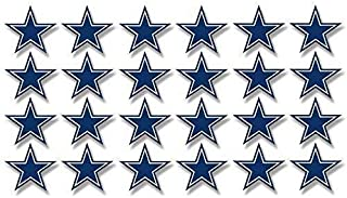 MAGNET Sheet of 24: 1 Inch Dallas Star Shaped Stickers -fan cowboys scrapbooking small Magnetic vinyl bumper sticker sticks to any metal fridge, car, signs
