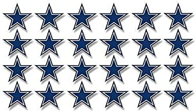 Magnet Sheet of 24: 1 Inch Dallas Star Shaped Stickers -Fan Cowboys Scrapbooking Small Magnetic Magnet Vinyl Sticker