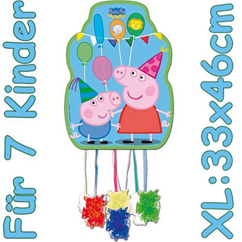 Carpeta Piñata XL de Peppa Pig para cumpleaños infantiles, tamaño: 33 x 46 cm, para 7 niños