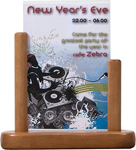 Securit tafel standaard -A6 hardhout gelakt, hout, bruin (teak), 23 x 21 x 5 cm