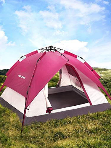 AXWT Night Cat Camping Tent 3 4 Person Pull Rope Instant Pop Up Automatic Dome Holiday Easy Set Up Tent For Outdoor Hiking Double Layer