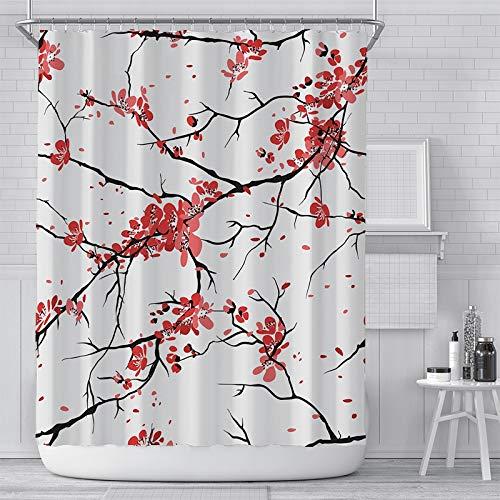 AUNMPY DuschvorhangRosa Kirschblüte Pfirsichblüten Duschvorhang Weißer Hintergr& Mädchen Badezimmer Wasserdicht Polyester Tuch Display Mit Haken Set