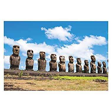 JP London SPAP2551 Solvent Free Poster Art Print Ready to Frame Easter Island Mystery Moai Heads At 11  h by 17  w