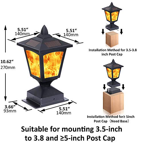 Solar Post Light,Outdoor Post Cap Light Flickering Flame Light for Fence, 4 x 4 Led Waterproof Deck Lamp Post Top Solar Powered Light for Pathway Garden Patio Yard Landscape Decoration, Black (2 pack)