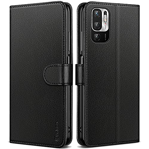 Vakoo Handyhülle für Xiaomi Redmi Note 10 5G Hülle, Xiaomi Poco M3 Pro 5G Hülle, Premium Leder Tasche Schutzhülle Flip Hülle mit RFID Schutz, Schwarz