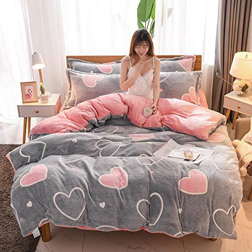 Bedding-LZ bettwäsche 155 x 220 4 teilig-Kristallteil Samt vierteiliges Set einteiliges Bettlaken Bettbezug Kissenbezug Bettwäsche Geschenk-N_1,5 m Tagesdecke (4 Stück)
