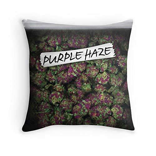 HOJJP Funda de Almohada My Kush Weed Purple Haze Diseño de Cannabis Floral Hamp Marijuana para sofá Sofá Sala de Estar Cama Decorativa (Cuadrada 16x16)