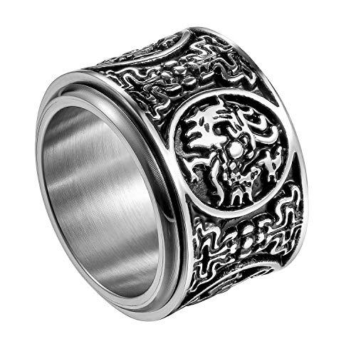 Flongo Herrenring Männer Ring Daumenring drehbarer Siegelring, Edelstahl Ring Bandring Glück Siegel Ringe Biker Silber Herren-Accessoires Größe 71