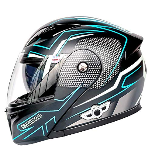 Casco de motocicleta con certificado DOT con Bluetooth integrado modular de cara completa, casco de motocicleta con visera solar, doble casco ligero para hombre y mujer A, XXL = 63 ~ 64 cm