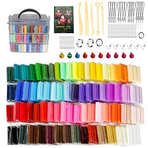 Polymer Clay 70 Colors, DAOFARY Modeling Clay Kit DIY Oven Bake Clay with Sculpting Tools, Accessories and Portable Storage Box, for Kids/Adults/Beginners