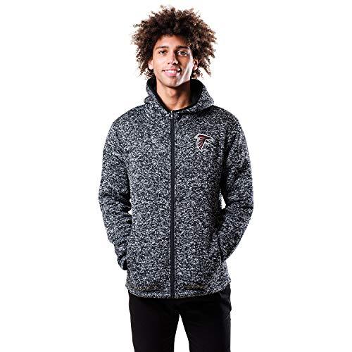 NFL Ultra Game Atlanta Falcons Full Zip Fleece Hoodie Letterman Varsity Jacket, X-Large, Team Color