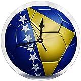 Zseeda Moderne dekorative runde Wanduhr Bosnien-Herzegowina-Flagge auf Fußball-Batterie betrieben 9,8 '