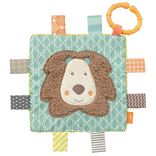 FEHN 066425 Lion avec anneau et chiffon de rasage d'activité pour suspendre des textures de préhension et de sonorisation – pour bébé et enfant à partir de 0+ mois