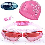 AOKELILY Swim Goggles and Cap Set 4 in 1, UV 400 Protection Lenses Clear Anti-Fog Swimming Goggles Waterproof No Leaking with Nose Clip + Ear Plugs for Adult Men Women Kids (Pink)