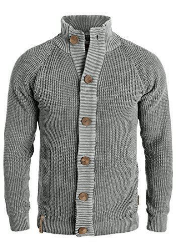 Indicode Coby Herren Strickjacke Cardigan Grobstrick Winter Pullover mit Stehkragen, Größe:L, Farbe:Iron (920)