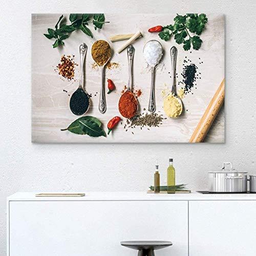 póster Decorativas Impresiones en Lienzo Imágenes Arte de la Pared 1 Pieza Pintura Salsa Picante Condimento Cocina Póster Modular Sala de Estar 40x60(Sin marco)