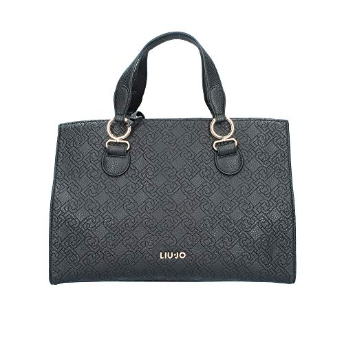 Borsa satchel M Liu-Jo 3 comp. con tracolla ecopelle embossed nero donna B20LJ56