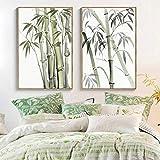 Cuadros artísticos de pared de bambú, cuadros impresos en lienzo, pinturas nórdicas en lienzo para sala de estar, dormitorio, decoración del hogar