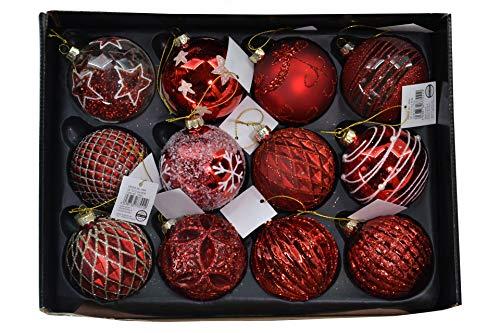 MC - Set di 12 palline di Natale in vetro, Ø 6 cm, colore: Rosso
