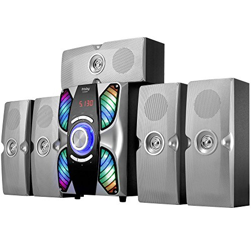 Frisby FS-6900BT_Silver Home Theater 5.1 Surround Sound System Bluetooth Receiver Stereo Subwoofer with USB/SD and Remote for TV/Smartphones/Tablets/Laptops/Desktops, Silver
