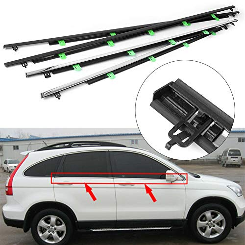 Loong Reform 4PCS Weatherstrip Window Molding Trim Car Outside Window Seals Compatible with Honda CR-V 2007 2008 2009 2010 2011