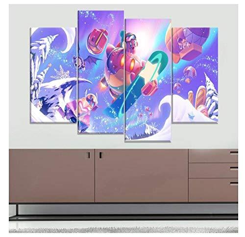 Dekoration 4 Panel Kirby Planet Robobot Spiel Poster Wohnzimmer Bilder Moderne Wandkunst Leinwanddrucke Kein Rahmen Größe A