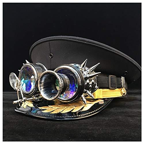 u&h 2020 Sombrero Ejército Gorra con Visera de Steampunk Gear Gafas Militar Sombrero Sombrero Oficial de Alemania cortical Policía Casquillo del Sombrero de Cosplay Tamaño S M L XL XXL BU