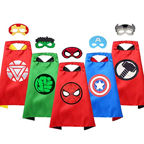VOSOE Superhero Capes with Masks Cosplay Costumes Birthday Party Christmas Halloween Dress up Gift for Kids (Hulk 5 Sets)