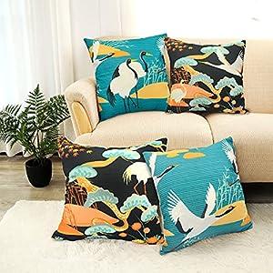 LIGICKY Funda de almohada decorativa de estilo japonés para sofá, cama, decoración del hogar (45 x 45 cm, juego de 4)