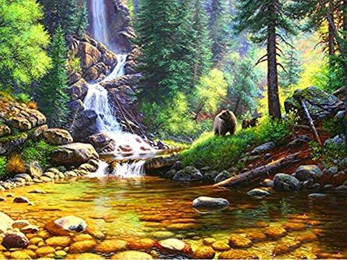 Pintura acrílica por números paisaje de cascada pintura al óleo DIY por números sobre lienzo paisaje Digital Home Deco W13 40x50cm