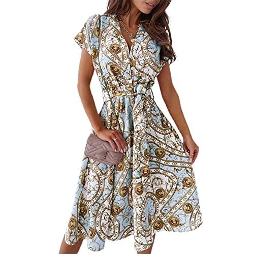 Loalirando Abito Donna a Manica Corta Stampa Floreale Vestito Camicia Elegante Donna Ufficio Casual Cerimonia (Blu, XL)