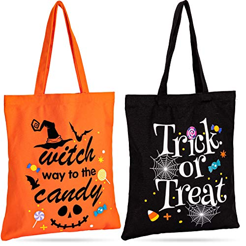 Whaline Halloween Canvas Tote Bags Trick or Treat Tote Candy Bag Reusable Cotton Handbag Grocery Bags for Halloween Party Favor Gift Bags, 2 Pack, 15.7' x 13.4'