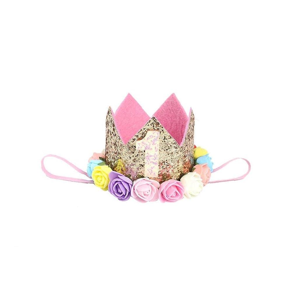 瀬戸際防衛森林幼児赤ちゃん1バースデーパーティーハットプリンセスヘアバンド繊細なバラの花のヘアアクセサリークラウンパーティー帽子ゴールデンスタイルb