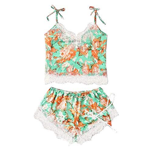 Deloito Damen Übergröße Nachtwäsche Unterwäsche Spitzen Satin Silk Camisole Tops Shorts Tanga Pyjamas Dessous Set Blumendruck Schlafanzug Reizwäsche (Gelb,8X-Large)