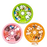 Pill Box 7 Day Travel Medicine Organizer Portable Pill Container Rotating Weekly Pill Organizer Round Cute Pill Case Fish Oil Vitamins Holder (Pink+Orange+Green)