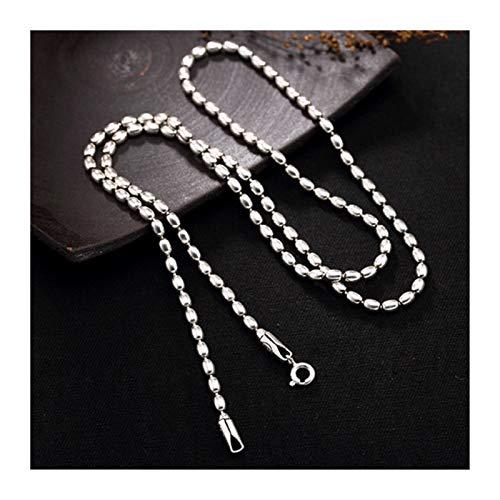 HYMD Collar Hombre Plata 925 Collares de Plata esterlina para Hombres y Mujeres Chockers Link 3mm Silver Bead Jewelleryt (Metal Color : 50cm Long)